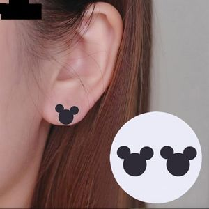 Mini Mickey Mouse Studs Gunmetal Black Earrings